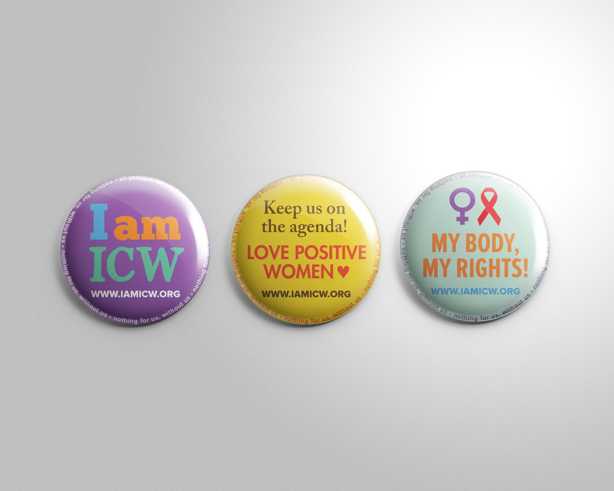 I am ICW International Community of Women Living with HIV button pin design