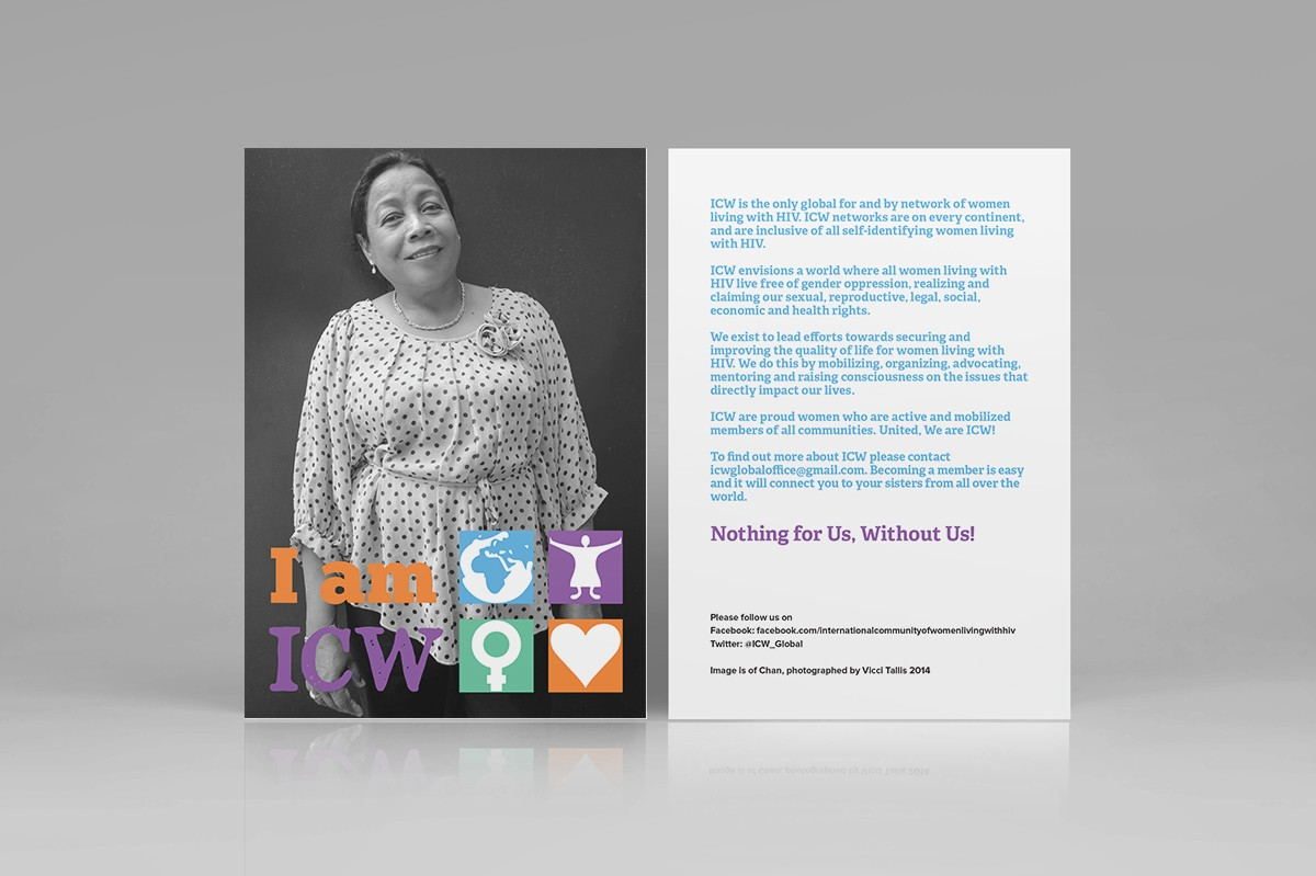 I am ICW International Community of Women Living with HIV postcard design