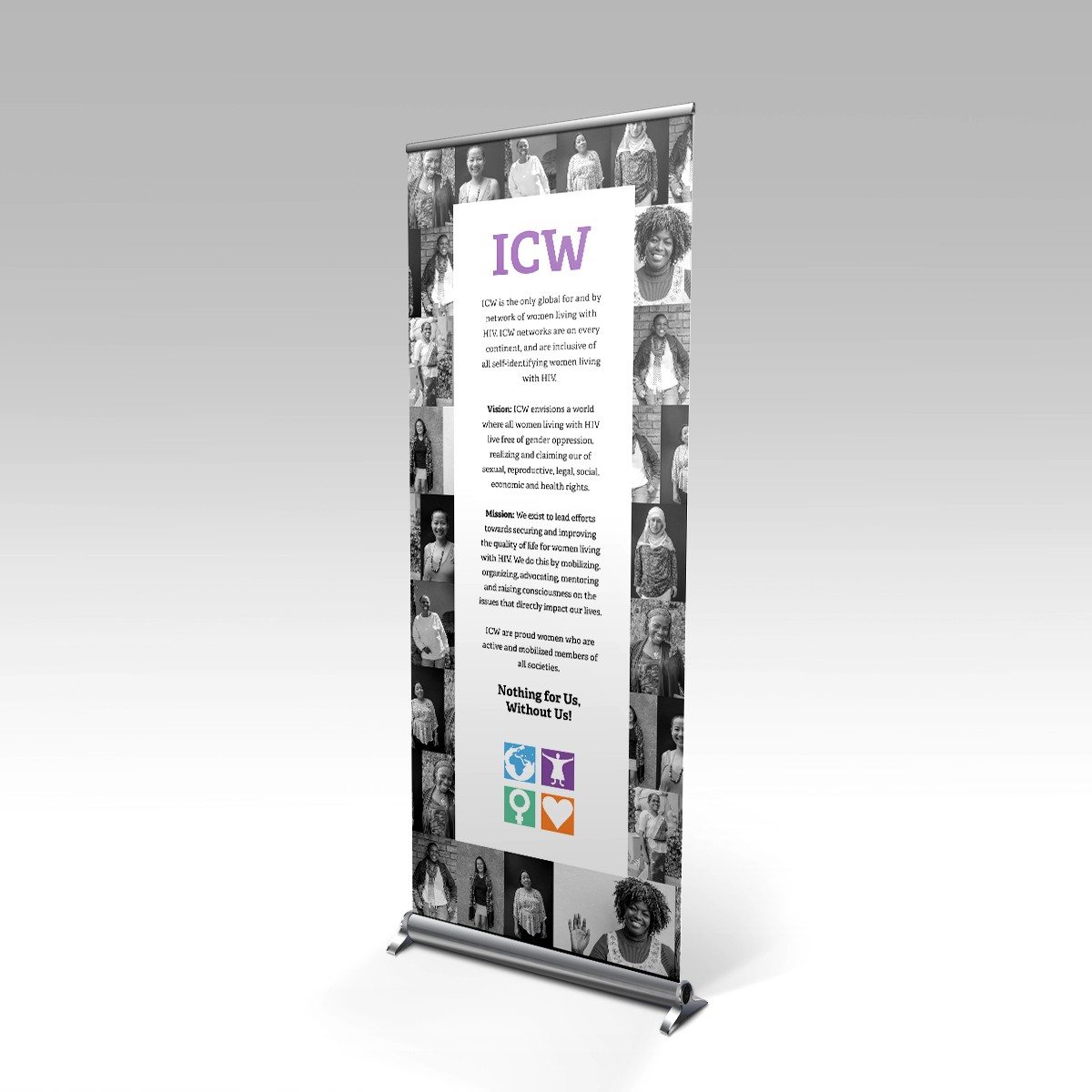 I am ICW International Community of Women Living with HIV roll-up banner design