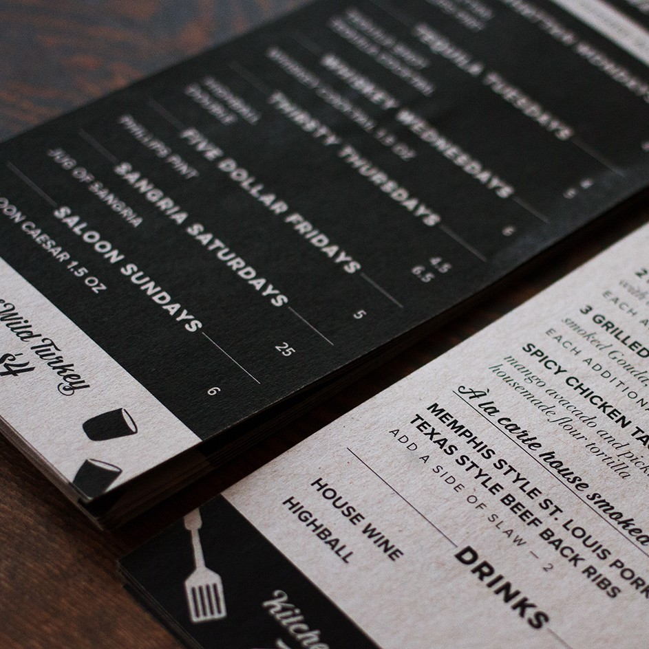 Buckstop Restaurant Menu Design