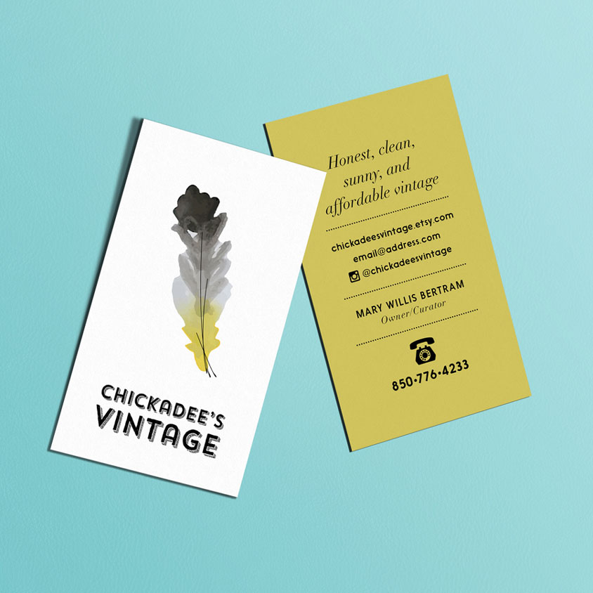 Chickadees Vintage Business Card Design